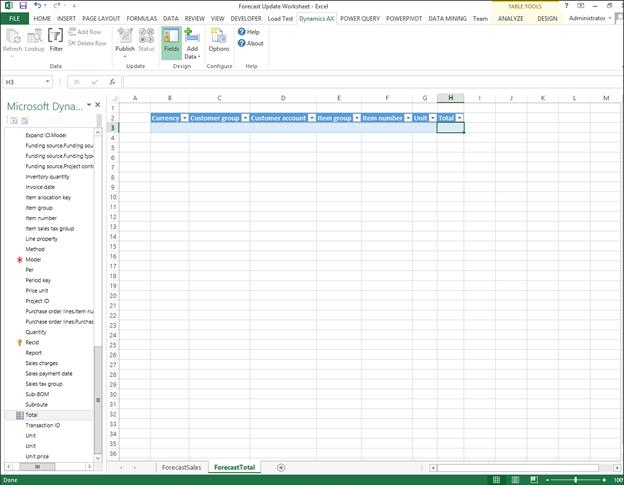 Using the Dynamics AX Excel Add-In - Microsoft Dynamics AX