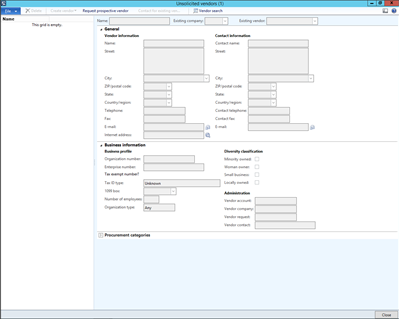 New Vendor Onboarding Within Dynamics AX 2012 – Vendor Request Form