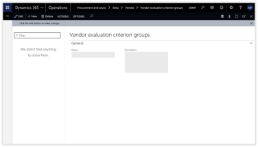 Configuring Vendor Ratings within Dynamics 365 for