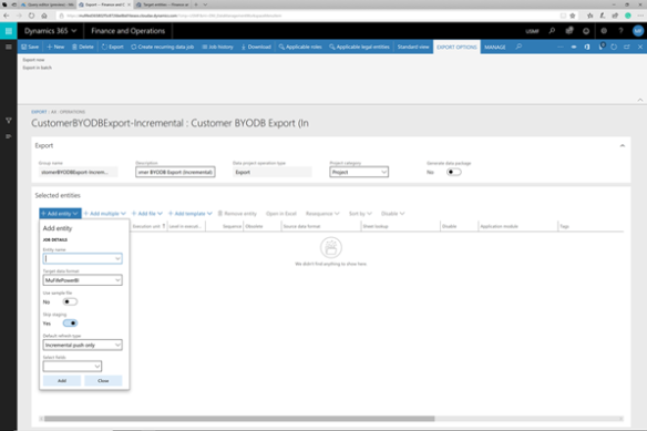 Configuring a BYODB and Creating a Full and Incremental Entity